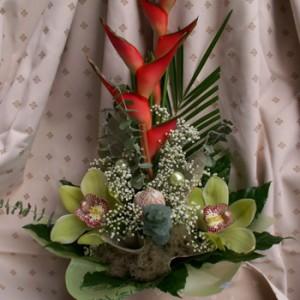 Heliconia orchideával kiegészítőkkel