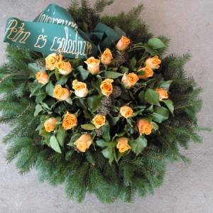 20 szál rózsás temetési koszorú